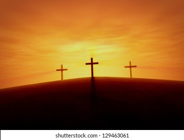 Easter Sunrise with Crucifixes on a Hill