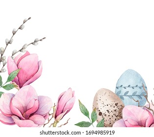 Easter watercolor Flowers of Magnolia. Handpaint. White background