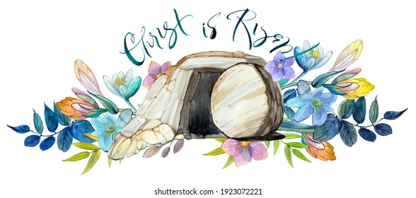 "Easter watercolor illustration: the cave of Jesus Christ, a flower wreath, the inscription ""Christ is risen!"" Easter print, decor, Christian resurrection, Holy Sepulcher, Good Friday"