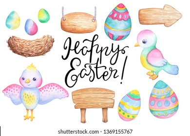 Easter watercolor illustration set with colored egg, bird, wooden stand and a bird nest. Cute birdie character. Handdrawn wooden board and billboard. Easter egg isolated. Birdnest with colorful eggs