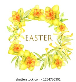 Easter wreath with yellow forsythia. Square border. Watercolor illustration on white background with text .