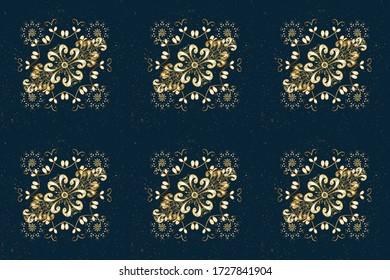 Eastern style element. Raster line art border for design template. Raster illustration for invitations, cards, certificate, web page. Golden outline floral decor. Golden element on beige, blue colors.