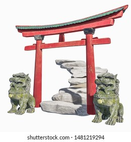 Eastern traditional composition. Gates with stone stairs and sculptures foo dog. 3D render Chinese Torii Arch