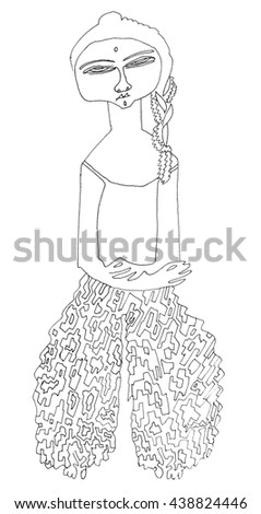 Eastern Woman Wide Pants Coloring Page Stock Illustration Royalty