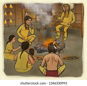 Eastern Woodland Native Americans In Longhouse/US History