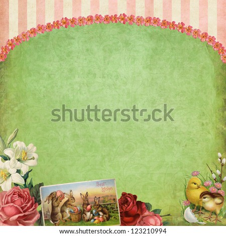 easterthemed victorian collage background stock illustration