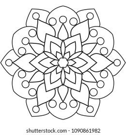 Simple Floral Mandala Pattern Coloring Book Stock Vektorgrafik