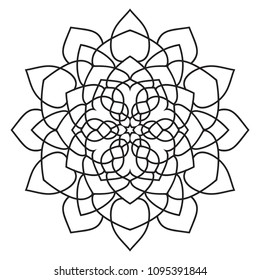 Easy basic mandala for coloring book pages. Concentric circles in a doodle floral element. Simple like flower mandalas pattern to color for kids, beginners, seniors and adults, kids and children.