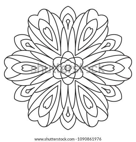 Easy Basic Mandala Coloring Book Pages Stockillustration 1090861976