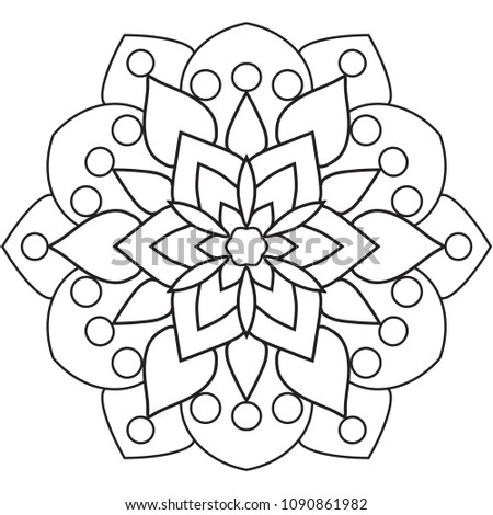 Easy Basic Mandala Coloring Book Pages Stock Illustration Royalty