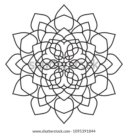 Easy Basic Mandala Coloring Book Pages Stockillustration 1095391844
