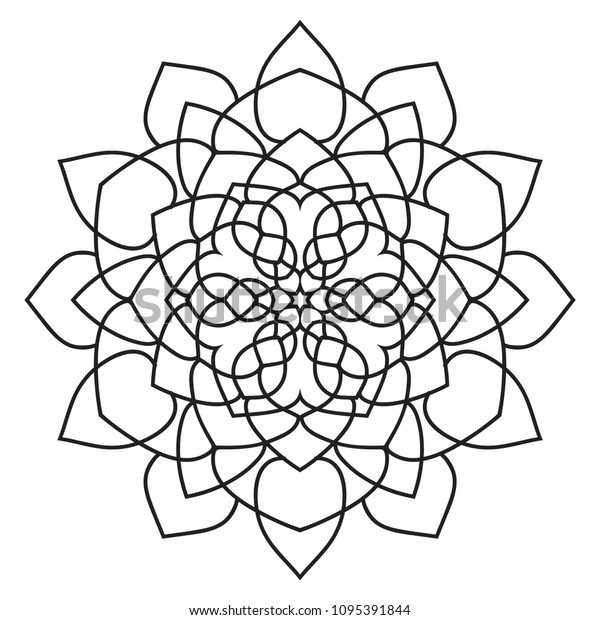 Easy Basic Mandala Coloring Book Pages Stockillustration ...