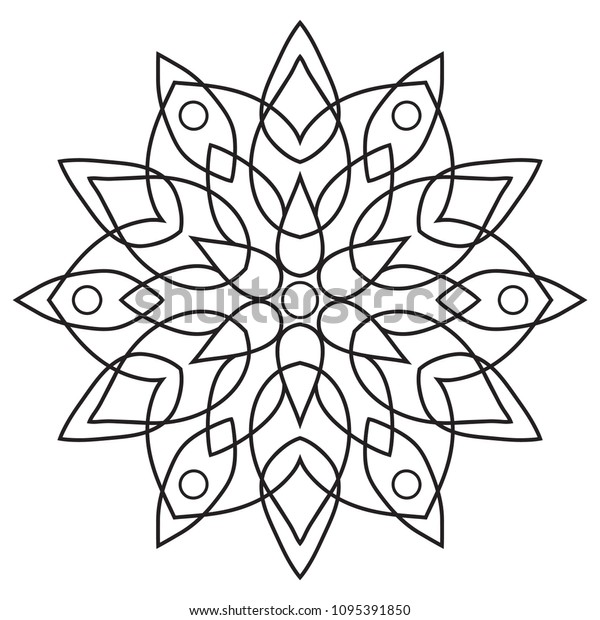 Easy Basic Mandala Coloring Book Pages Stock Illustration 1095391850