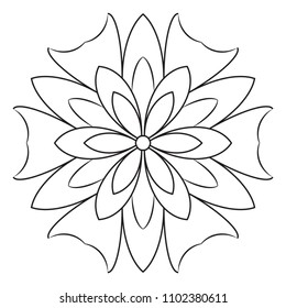 Easy Basic Mandala For Coloring Printable Book Pages Concentric Circles In A Doodle Floral Element