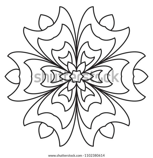 Easy Basic Mandala Coloring Printable Book Stock ...