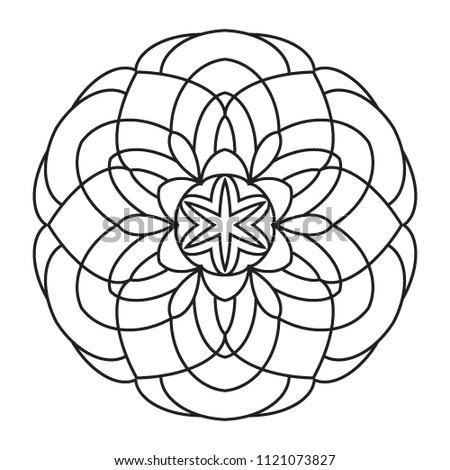 Easy Basic Simple Mandalas Coloring Pages Stock Illustration