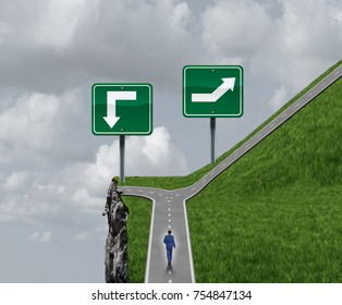 Easy choice decision concept to make a hard or much easier option as a business person facing two choices between safety and success versus danger and failure.