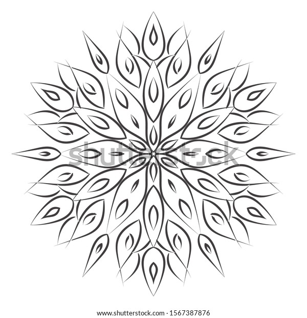 Easy Flowers Drawing Mandalas Coloring Pages Stock Illustration