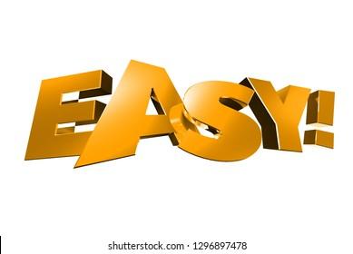 Easy gold 3d,Easy white background.