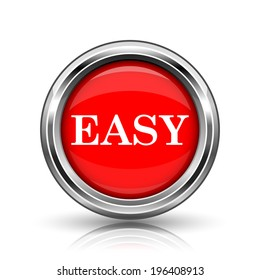Easy icon. Shiny glossy internet button on white background.