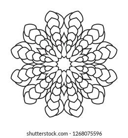 Easy mandala, basic mandalas coloring page for adults, senior and beginners.