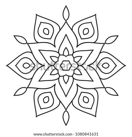 Easy Mandala Basic Simple Coloring Pages Stock Illustration