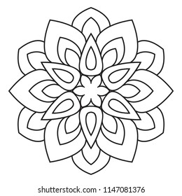 Easy mandala, basic and simple mandalas  coloring book for adults, seniors, and beginner. Mandalas flower coloring page on white background.