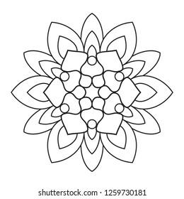 Easy Mandala, Doodle mandalas coloring pattern on white background.