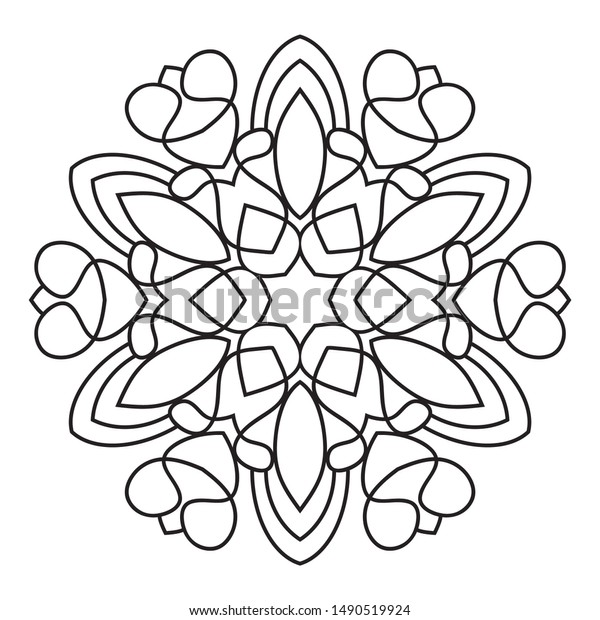 Easy Mandala Doodle Mandalas Flowers Coloring Stock