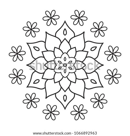 Easy Mandala Hand Drawn Coloring Pages Stock Illustration 1066892963
