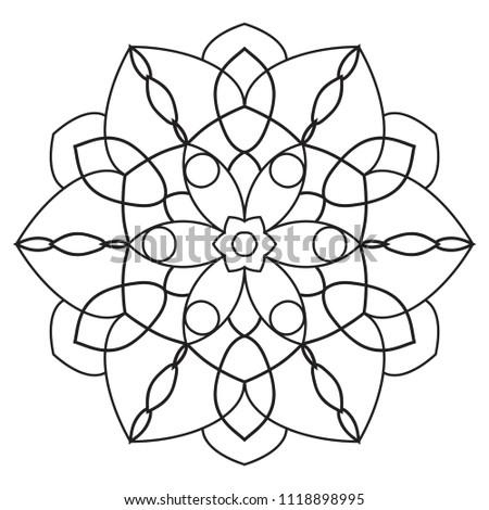 Easy Mandala Mandalas Coloring Page Beginners Stock Illustration ...