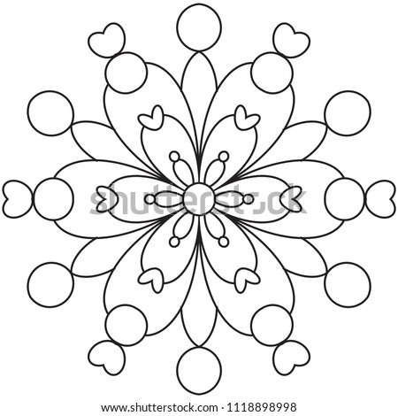 Easy Mandala Mandalas Coloring Page Beginners Stock Illustration