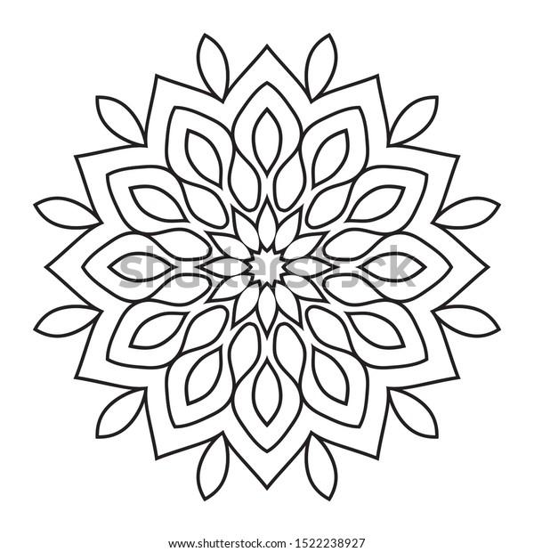 Easy Mandala Mandalas Flowers Coloring Page Stock