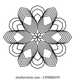 Easy mandala, zentangle coloring page on white background.