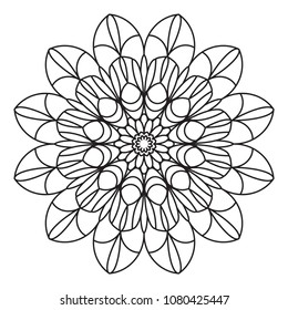 Easy Mandalas for beginner, adults, senior coloring page for relaxation and meditation.