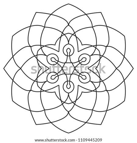 Easy Mandalas Beginners Mandala Pattern Seniors Stock Illustration