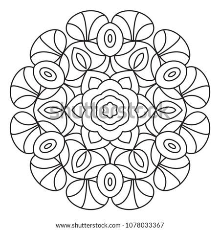 Easy Mandalas Coloring Page Beginner Senior Stock Illustration