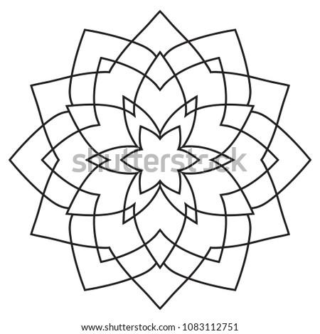 Easy Mandalas Hand Drawn Beginner Senior Stock Illustration