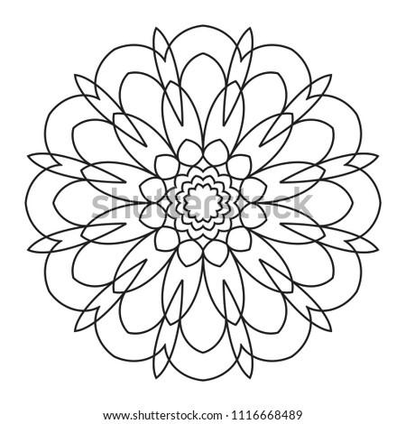 Easy Mandalas Mandala Coloring Pattern Beginners Stock Illustration