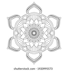 Easy mandalas for relaxation, meditation coloring, Basic mandala in circle floral shape for beginner, adults, seniors and kids.