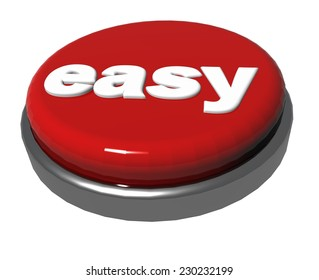 easy red button isolated for web background