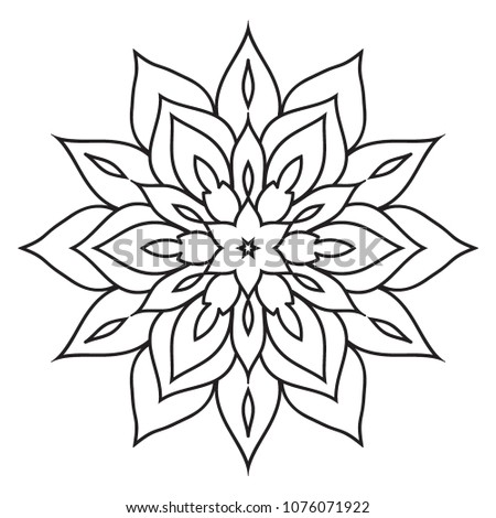 Easy Simple Hand Drawn Mandalas Beginners Stock Illustration