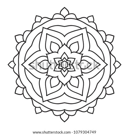 Easy Simple Mandala Coloring Pages Doodle Stock Illustration