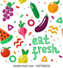 Eat fresh hand drawn fruit and vegetables seamless pattern in doodle style. Cute and colorful. Concept illustration for organic, bio, fresh food.