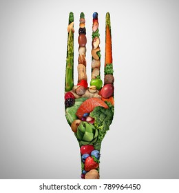 Eat healthy food symbol as nuts beans vegetables fruit fish shaped like a dinner fork as a health nutrition and fresh market produce metaphore with 3D illustration elements.