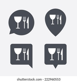 Eat sign icon. Cutlery symbol. Knife, fork and wineglass. Map pointers information buttons. Speech bubbles with icons.