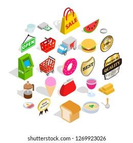 Eatery icons set. Isometric set of 25 eatery icons for web isolated on white background