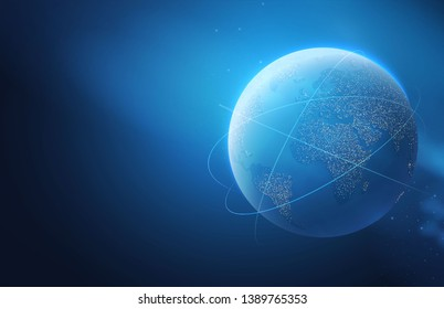 Eath Planet in Space with Lights. Realistic Universe. Cosmos Background. Landing Page.