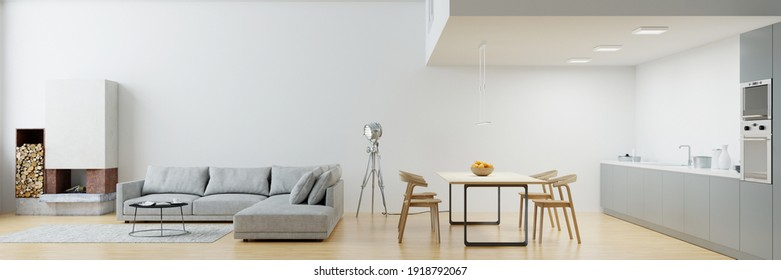 Eat-in kitchen with fireplace and sofa and dining table in the modern loft (3d rendering)