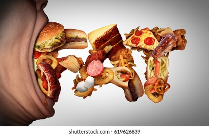 Eating fat food concept as an open mouth biting into unhealthy snacks shaped as text as a bad nutrition and obesity symbol for craving high calorie fatty meals.